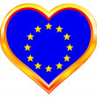 EU flag in heart — Stock Vector
