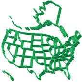 Extruded map of USA — Stock Vector