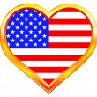 USA flag in heart — Stock Vector