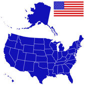 Silhouette map and flag of USA — Stock Vector