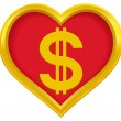 Dollar heart — Stock Vector