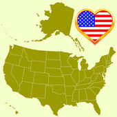 USA map and heart — Stock Vector