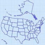 Contour map of USA — Stock Vector