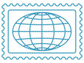 Globe on stamp — Vettoriale Stock