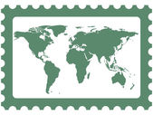World map on stamp — Stock Vector