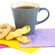 Cup of tea, cookies and rusks — Stock Photo