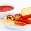 Rusks with sesame seeds, bread sticks and sauce — Stock Photo