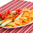 Stock Photo: Vegetables, olives, nachos in plate