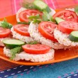 Puffed rice crackers sandwiches — Stock Photo #34704977