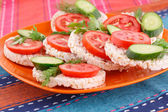 Puffed rice crackers sandwiches — Stok fotoğraf