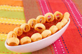Potato rings and red sauce — Stock Photo