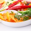 Stock Photo: Nachos, cheese and red sauce, vegetables