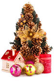 Christmas tree and decoration — Stock Photo