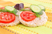 Puffed rice crackers sandwiches — Stock Photo