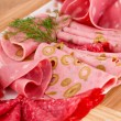 Salami, mortadella and bacon — Stock Photo