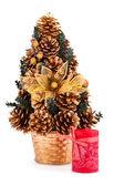 árbol de navidad y una vela — Foto de Stock
