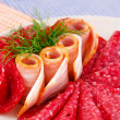 Salami and bacon — Stock Photo