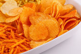 Potato chips in bowl — Stock Photo