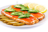 Salmon sandwiches — Stock Photo