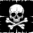 Skull and Crossbones over black flag — Stock Vector