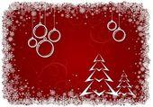 красный новогодний фон с коробочками и дерево — Cтоковый вектор