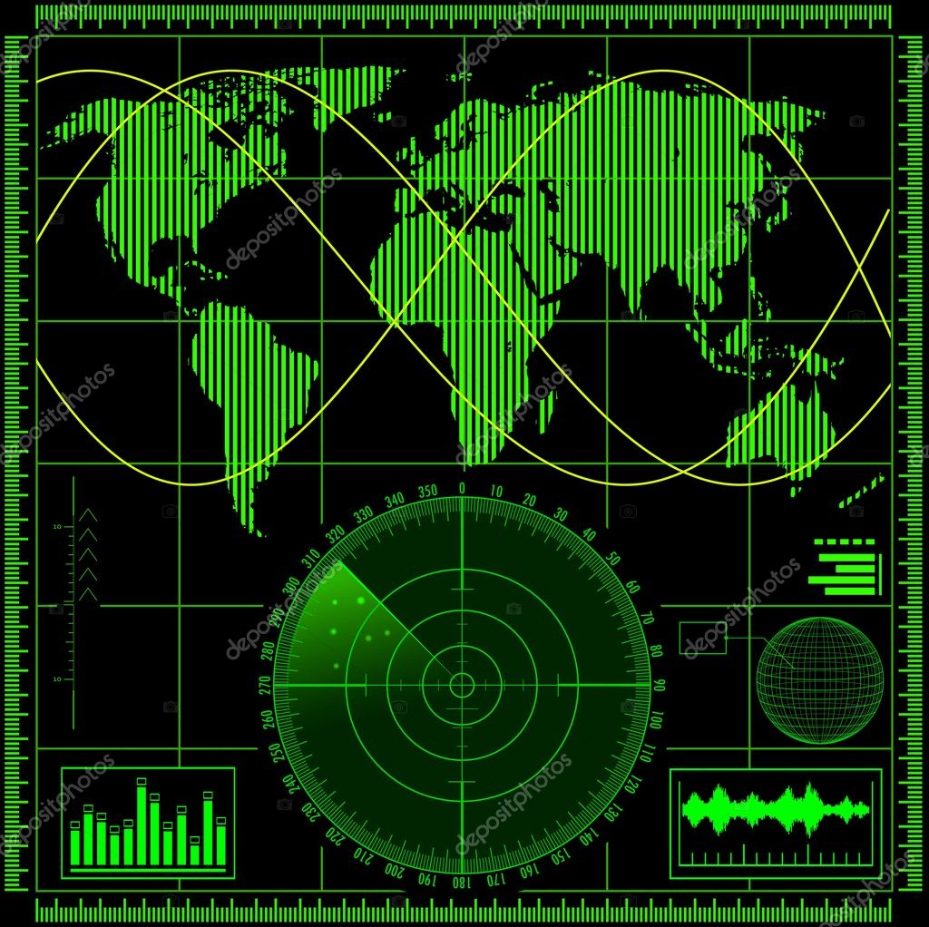 Radar screen with world map — Stock Vector © Makhnach ...