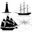 Stock Vector: Set of nautical design elements
