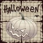 Halloween pumpkin over old paper — Stock Vector #35498055
