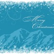 Blue Christmas background with mountains  — Stok Vektör