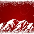 Red Christmas background with mountains — Stock Vector