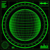 Radar screen. Digital globe with scale. — Stock Vector