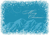 Blue Christmas background with mountains — Stock Vector