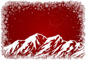 Red Christmas background with mountains — ストックベクタ