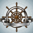 Ship steering wheel with banner. Vector illustration. — Stock Vector