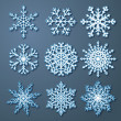 Stock Vector: Set of paper snowflakes
