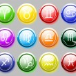 Glossy colore buttons with zodiac signs for web — Stock Vector