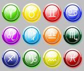 Błyszczący colore przyciski z znaków zodiaku dla sieci web — Wektor stockowy