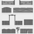 Set of black fences with gate — Stock Vector