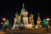 Saint Basil's Cathedral at night — Stock Photo