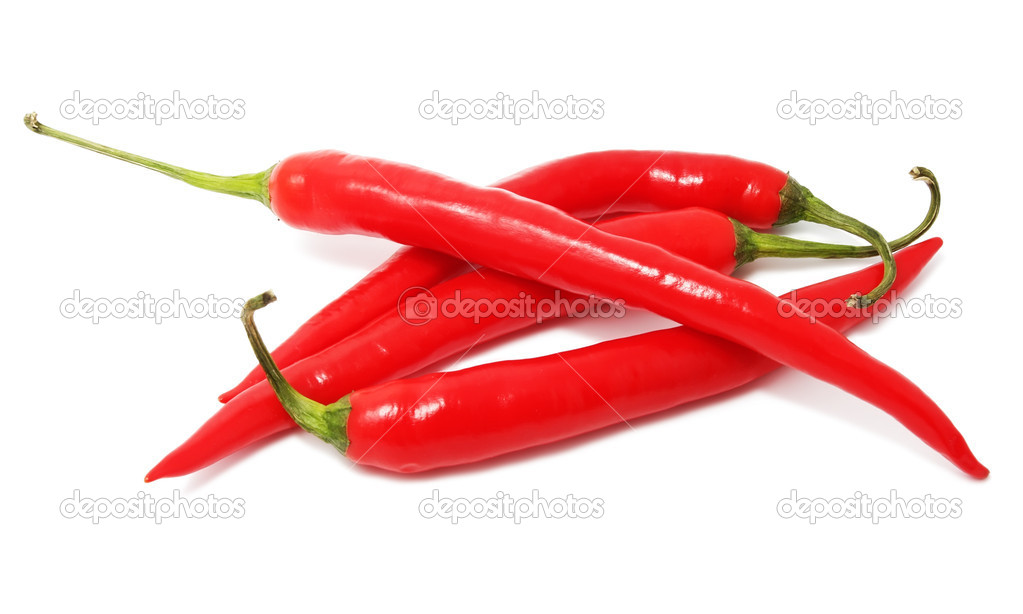 Red hot chili peppers isolated on white — Stock Photo #12110487