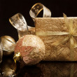 Golden set of Christmas decorations over black background — Stock Photo
