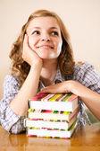 Snové student s knihami — Stock fotografie