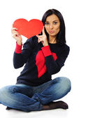 Beautiful young woman with red hearts isolated on white — Stock Photo