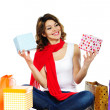 Beautiful woman with present boxes and shopping bags isolated — Stock Photo
