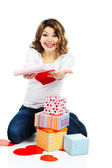 Beautiful woman with present boxes isolated — Stock Photo