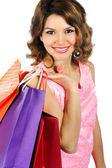 Mulher jovem maravilhoso com coloridos sacos de compras isoladas em wh — Foto Stock