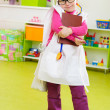 Cute little girl playing in doctor — Stok fotoğraf