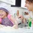 Mother with daughter joyful cooking — Stock Photo #20424589