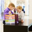 Cute little boy and girl inspecting shopping bags in mall — Stock Photo