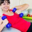 Happy young fitness woman - Stock Photo